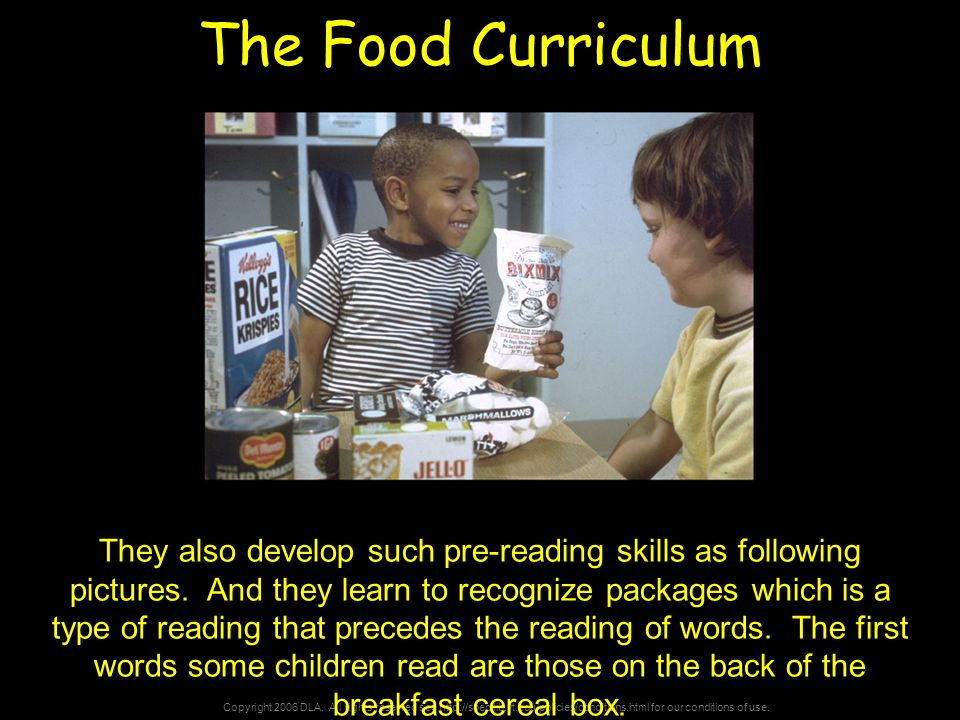 Copyright 2006 DLA. All rights reserved see http://spec.lib.vt.edu/policies/conditions.html for our conditions of use. The Food Curriculum They also d