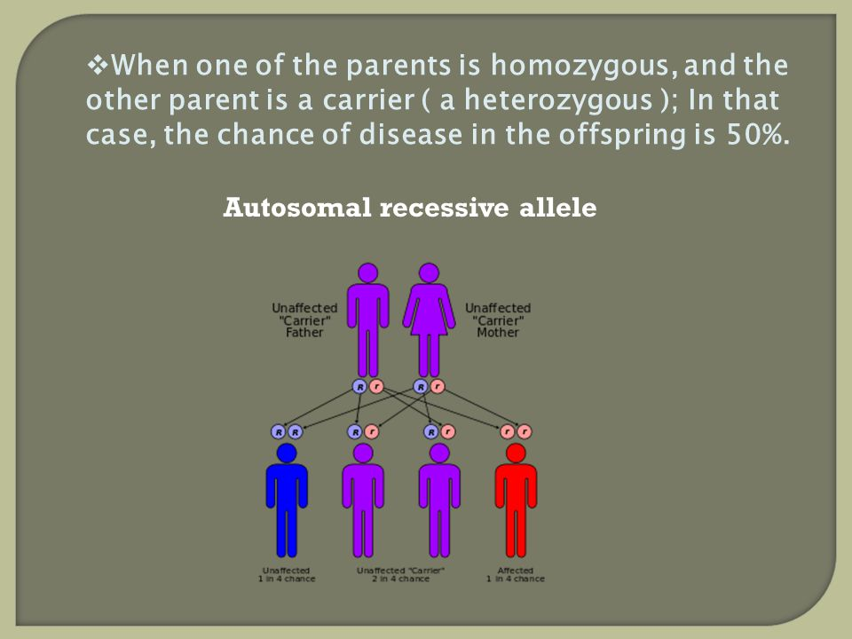 When one of the parents is homozygous, and the other parent is a carrier ( a heterozygous ); In that case, the chance of disease in the offspring is 5