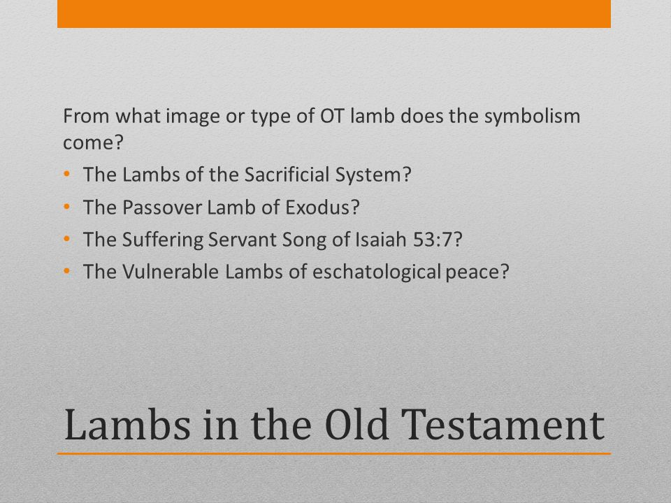 Lambs in the Old Testament From what image or type of OT lamb does the symbolism come? The Lambs of the Sacrificial System? The Passover Lamb of Exodu