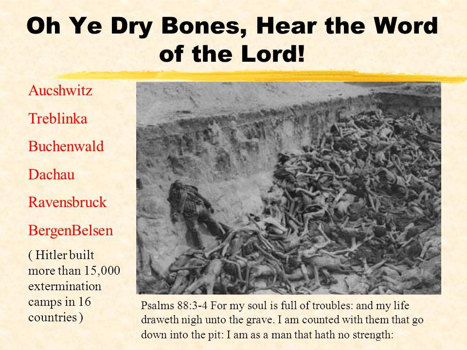 Oh Ye Dry Bones, Hear the Word of the Lord! Aucshwitz Treblinka Buchenwald Dachau Ravensbruck BergenBelsen ( Hitler built more than 15,000 exterminati