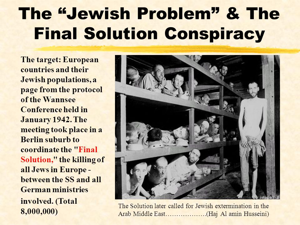 The Jewish Problem & The Final Solution Conspiracy The target: European countries and their Jewish populations, a page from the protocol of the Wannse