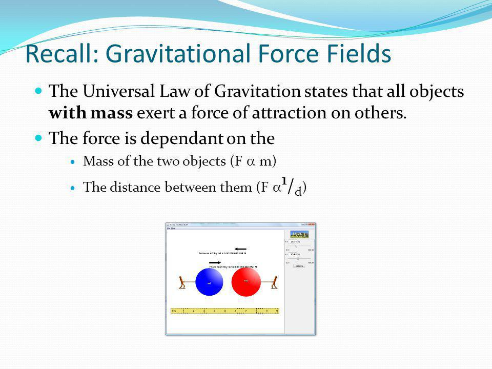 Recall: Gravitational Force Fields The Universal Law of Gravitation states that all objects with mass exert a force of attraction on others. The force