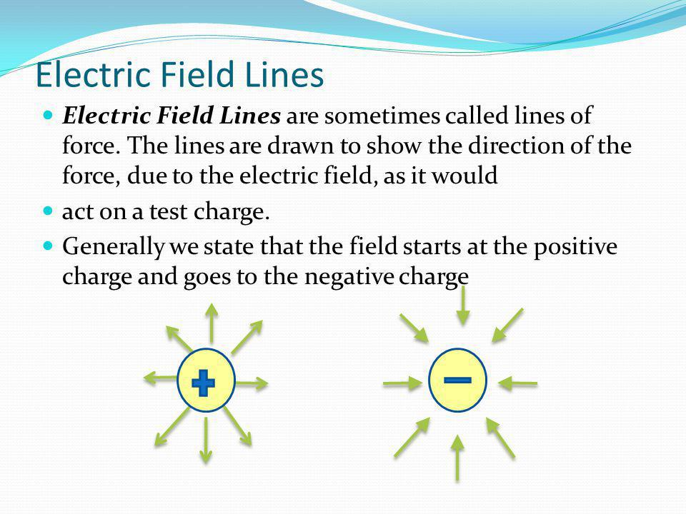 Electric Field Lines Electric Field Lines are sometimes called lines of force. The lines are drawn to show the direction of the force, due to the elec