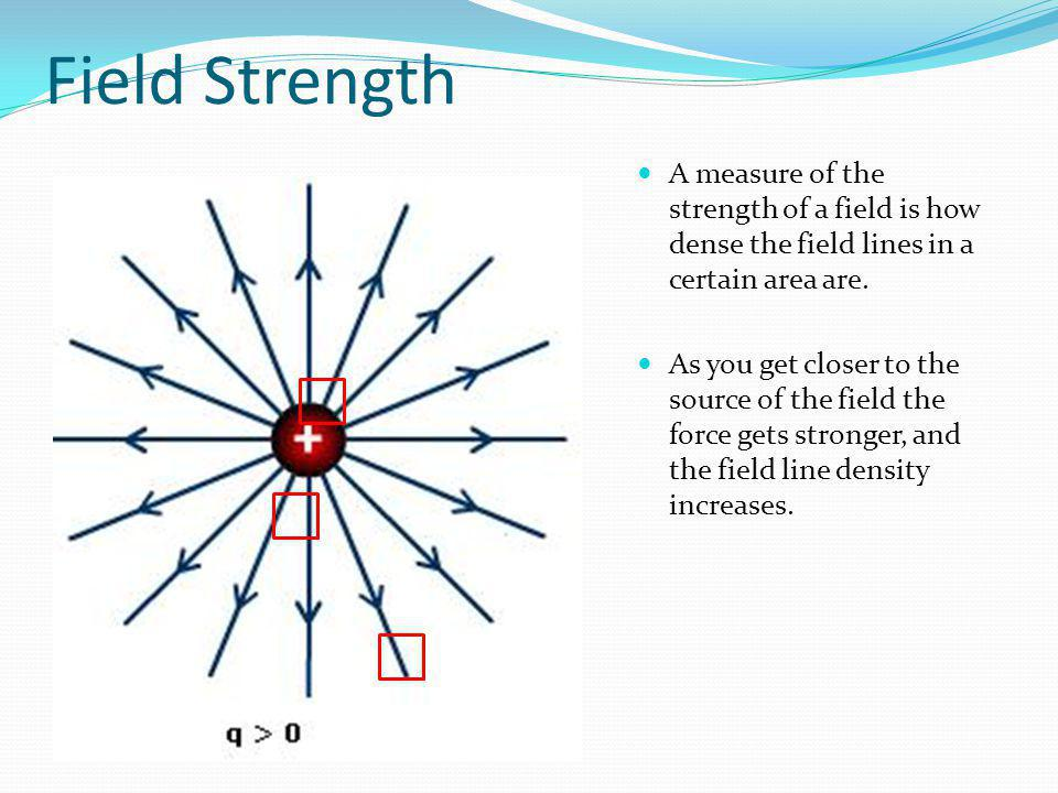 Field Strength A measure of the strength of a field is how dense the field lines in a certain area are. As you get closer to the source of the field t