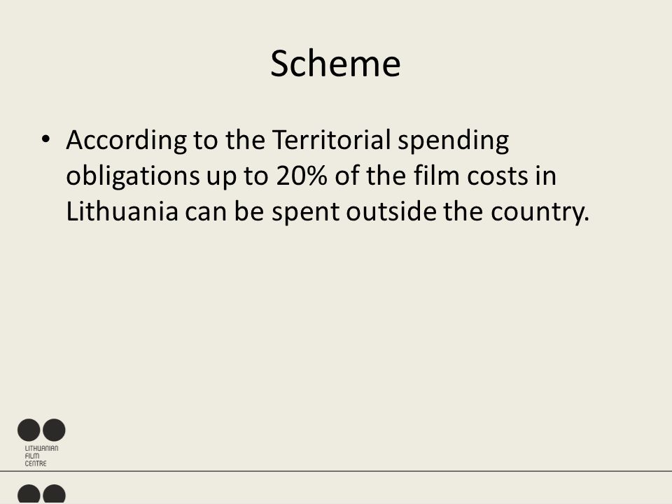 According to the Territorial spending obligations up to 20% of the film costs in Lithuania can be spent outside the country.