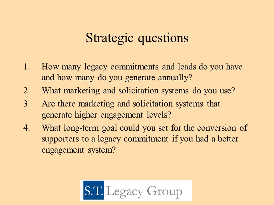 Strategic questions 1.How many legacy commitments and leads do you have and how many do you generate annually.