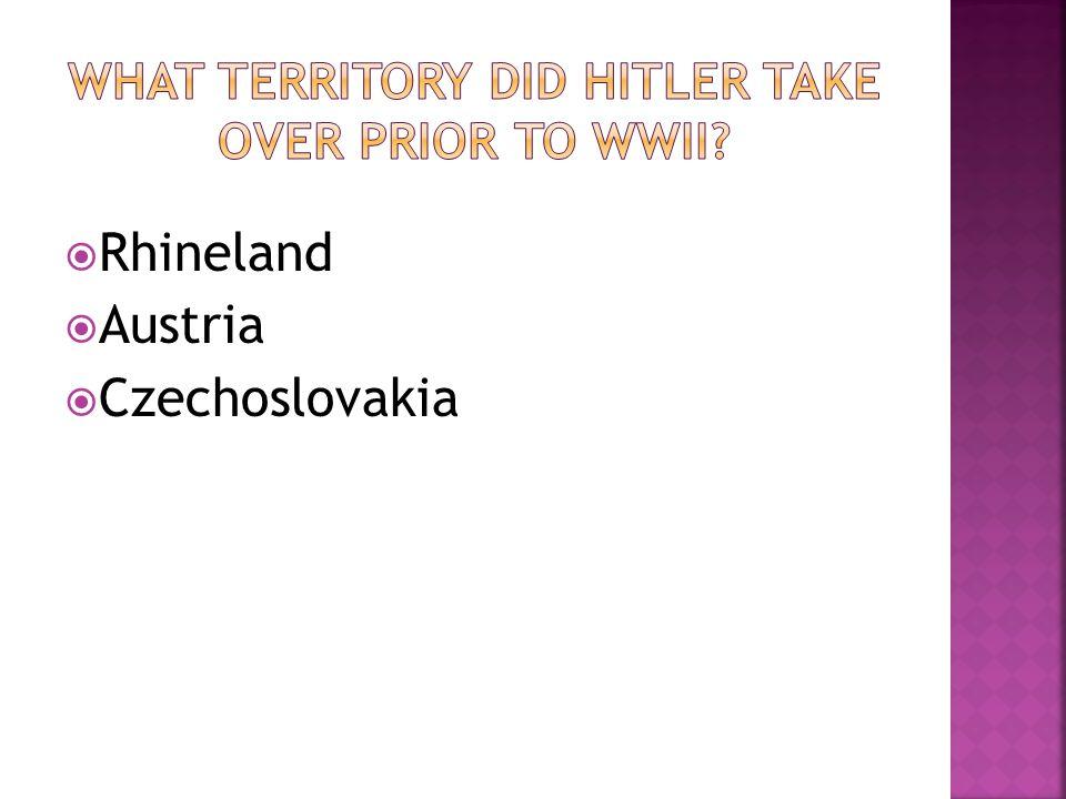 Rhineland Austria Czechoslovakia