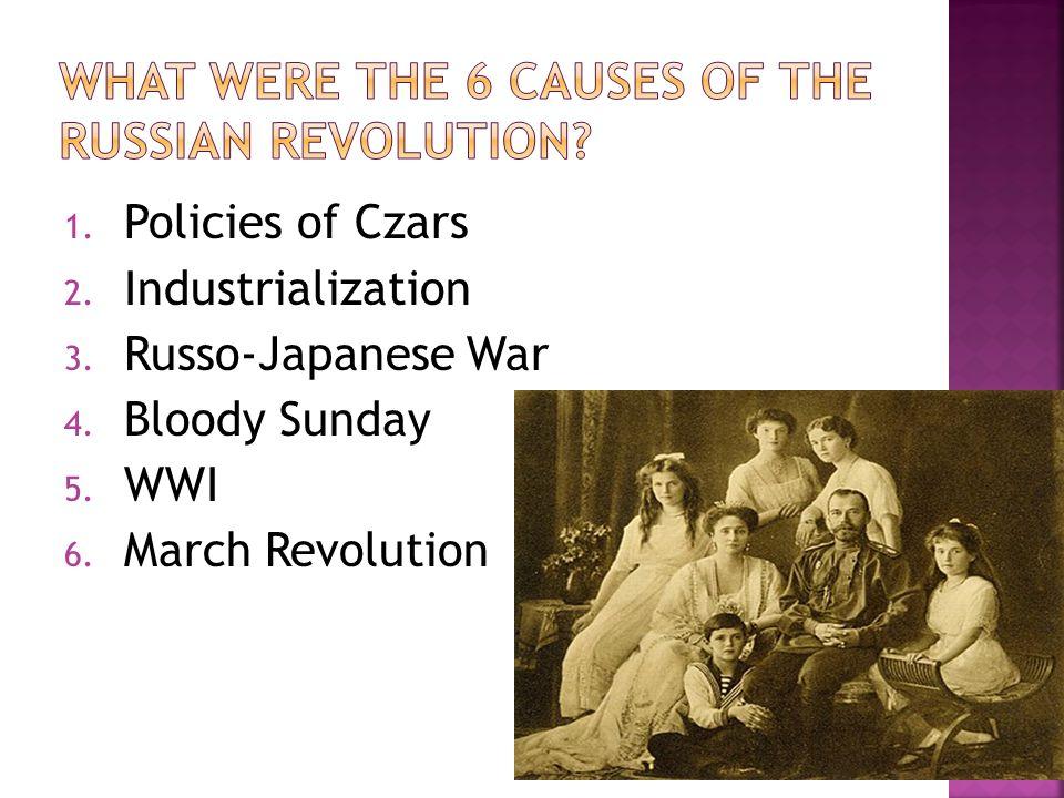 1. Policies of Czars 2. Industrialization 3. Russo-Japanese War 4.