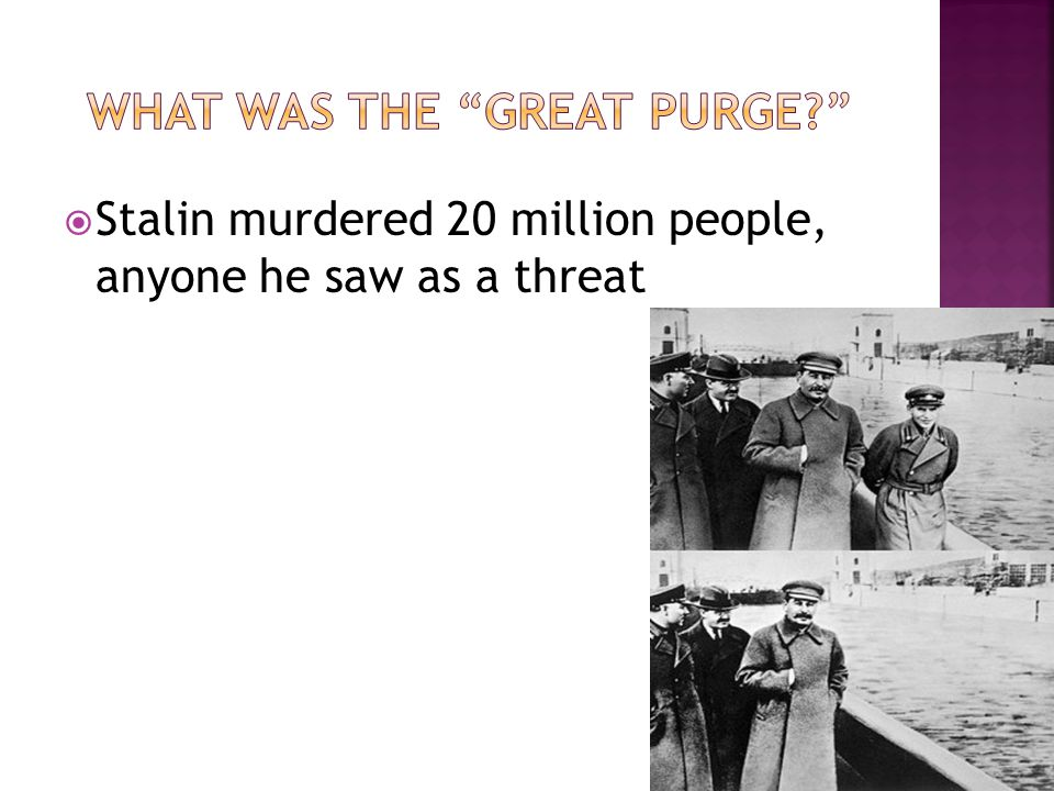Stalin murdered 20 million people, anyone he saw as a threat