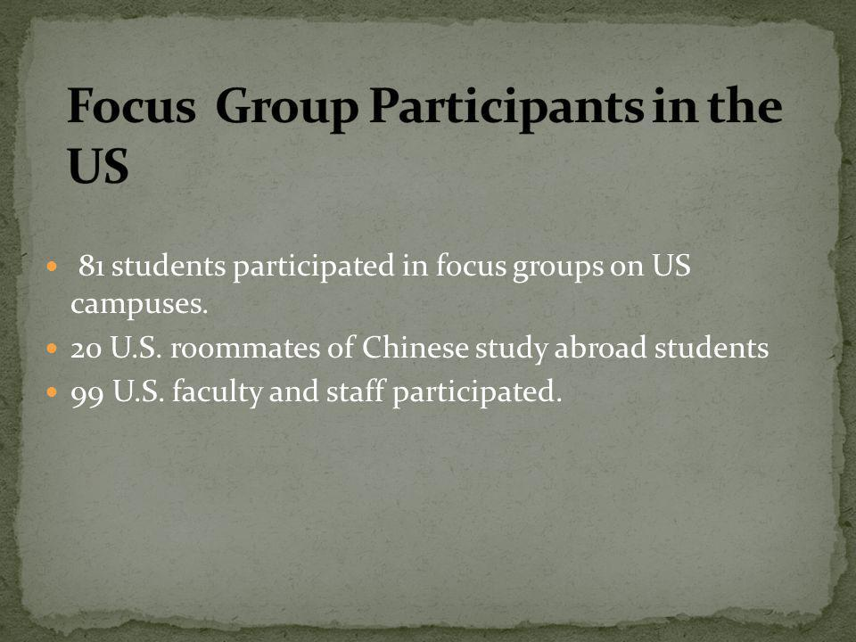 81 students participated in focus groups on US campuses. 20 U.S. roommates of Chinese study abroad students 99 U.S. faculty and staff participated.