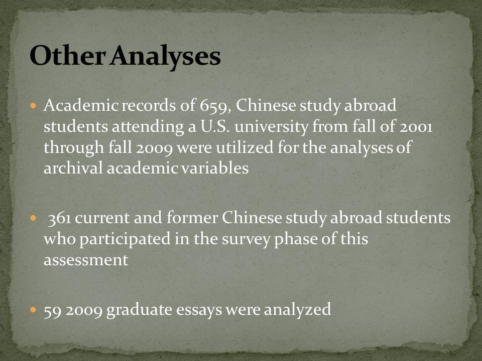 Academic records of 659, Chinese study abroad students attending a U.S. university from fall of 2001 through fall 2009 were utilized for the analyses