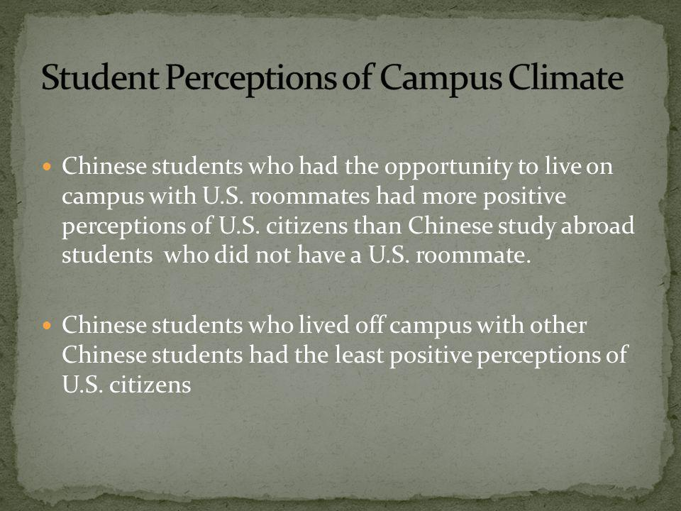 Chinese students who had the opportunity to live on campus with U.S.