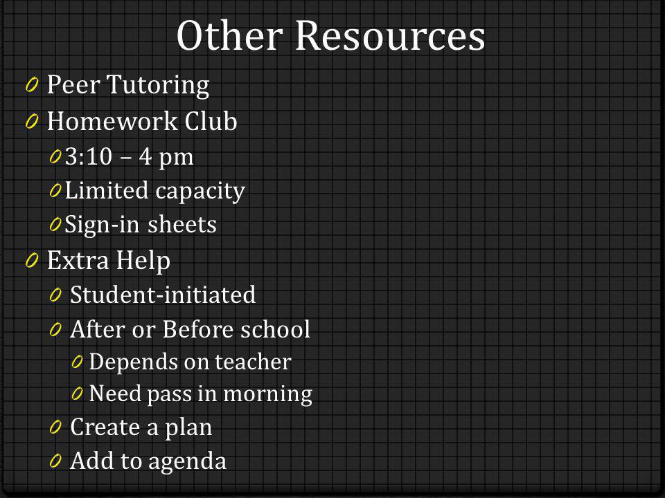 Other Resources 0 Peer Tutoring 0 Homework Club 0 3:10 – 4 pm 0 Limited capacity 0 Sign-in sheets 0 Extra Help 0 Student-initiated 0 After or Before s