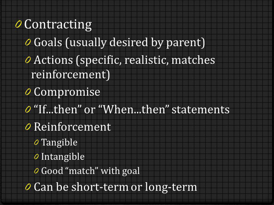 0 Contracting 0 Goals (usually desired by parent) 0 Actions (specific, realistic, matches reinforcement) 0 Compromise 0 If...then or When...then statements 0 Reinforcement 0 Tangible 0 Intangible 0 Good match with goal 0 Can be short-term or long-term