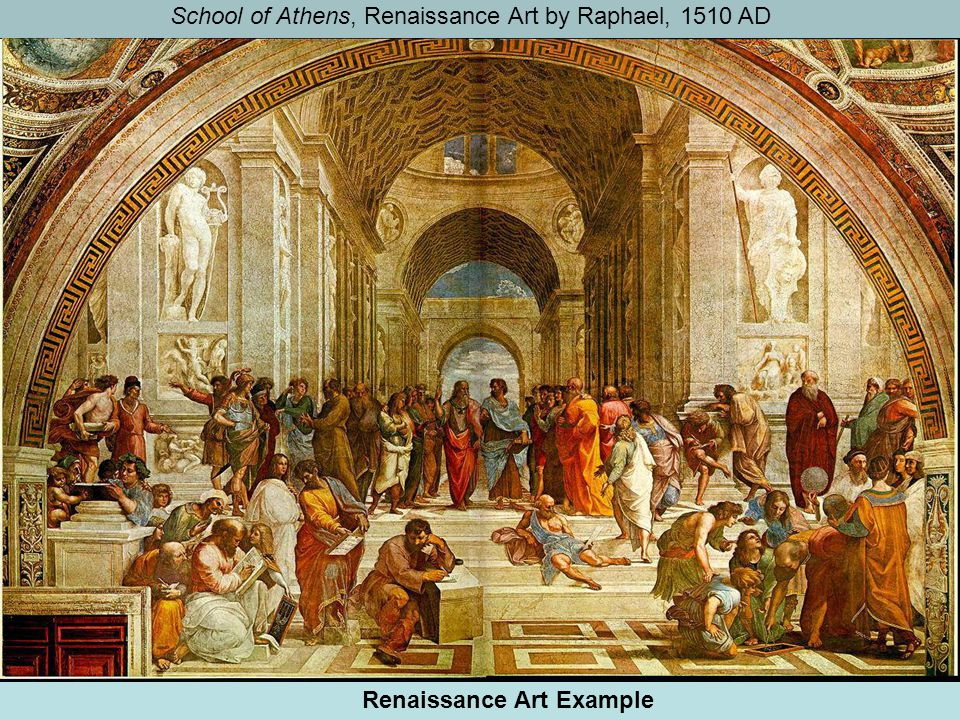 School of Athens, Renaissance Art by Raphael, 1510 AD Renaissance Art Example