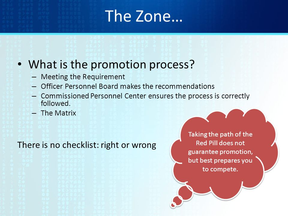 The Zone… What is the promotion process.