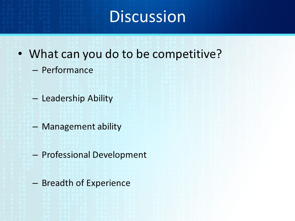 Discussion What can you do to be competitive.