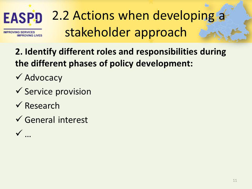2.2 Actions when developing a stakeholder approach 2.