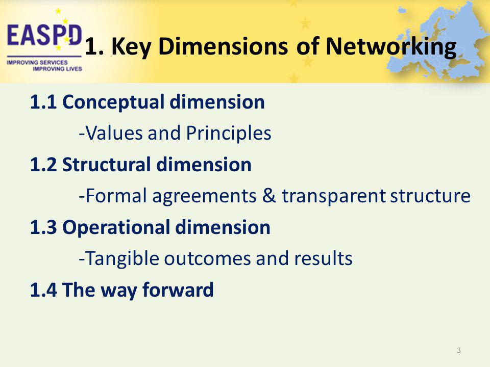 1.1 Conceptual dimension -Values and Principles 1.2 Structural dimension -Formal agreements & transparent structure 1.3 Operational dimension -Tangible outcomes and results 1.4 The way forward 3 1.
