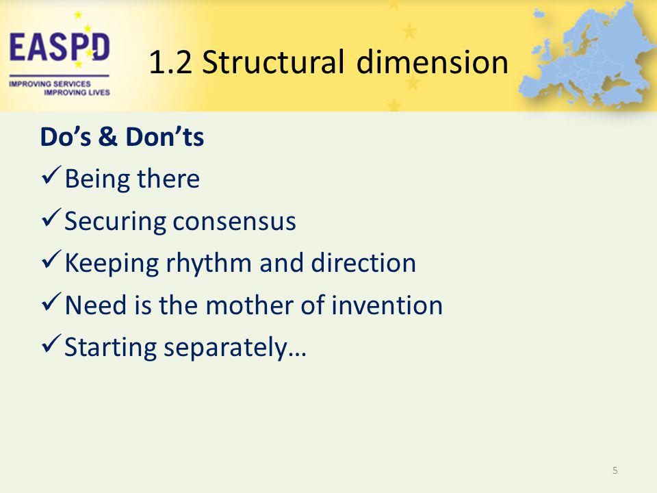 Dos & Donts Being there Securing consensus Keeping rhythm and direction Need is the mother of invention Starting separately… 5 1.2 Structural dimension