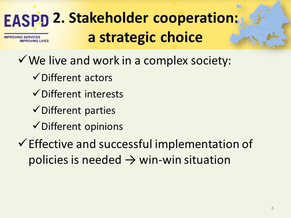 2. Stakeholder cooperation: a strategic choice We live and work in a complex society: Different actors Different interests Different parties Different