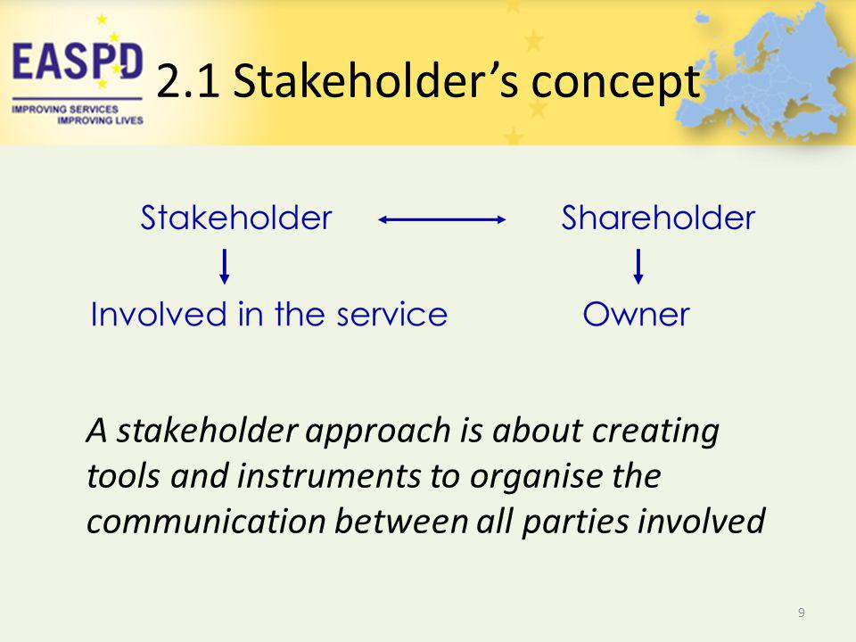 2.1 Stakeholders concept 9 A stakeholder approach is about creating tools and instruments to organise the communication between all parties involved