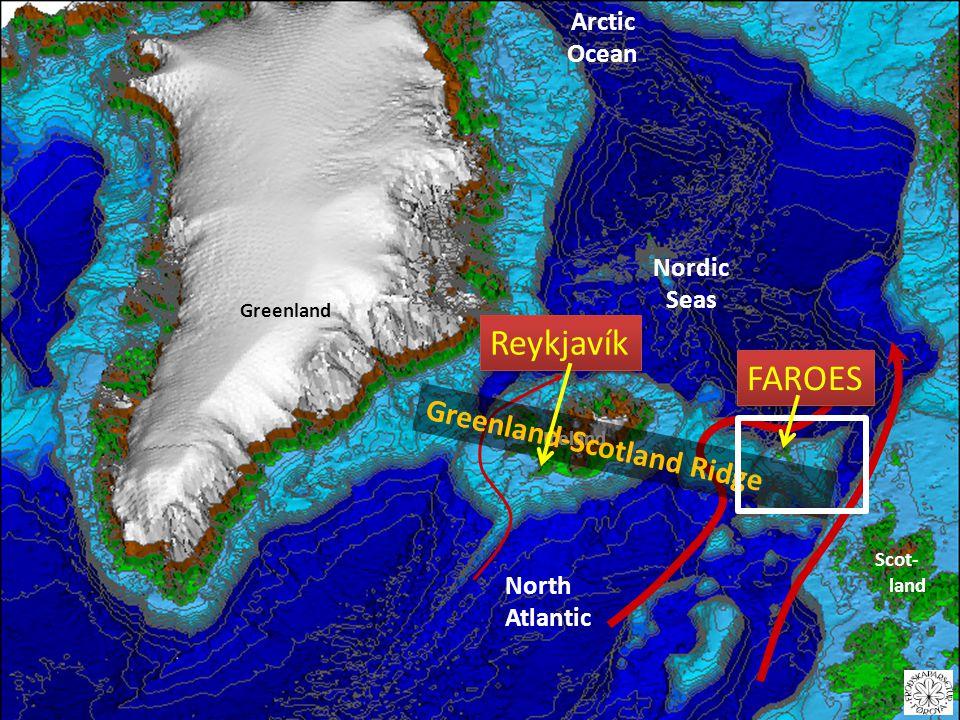 Iceland Scot- land Nordic Seas Arctic Ocean Greenland North Atlantic Greenland-Scotland Ridge Reykjavík FAROES