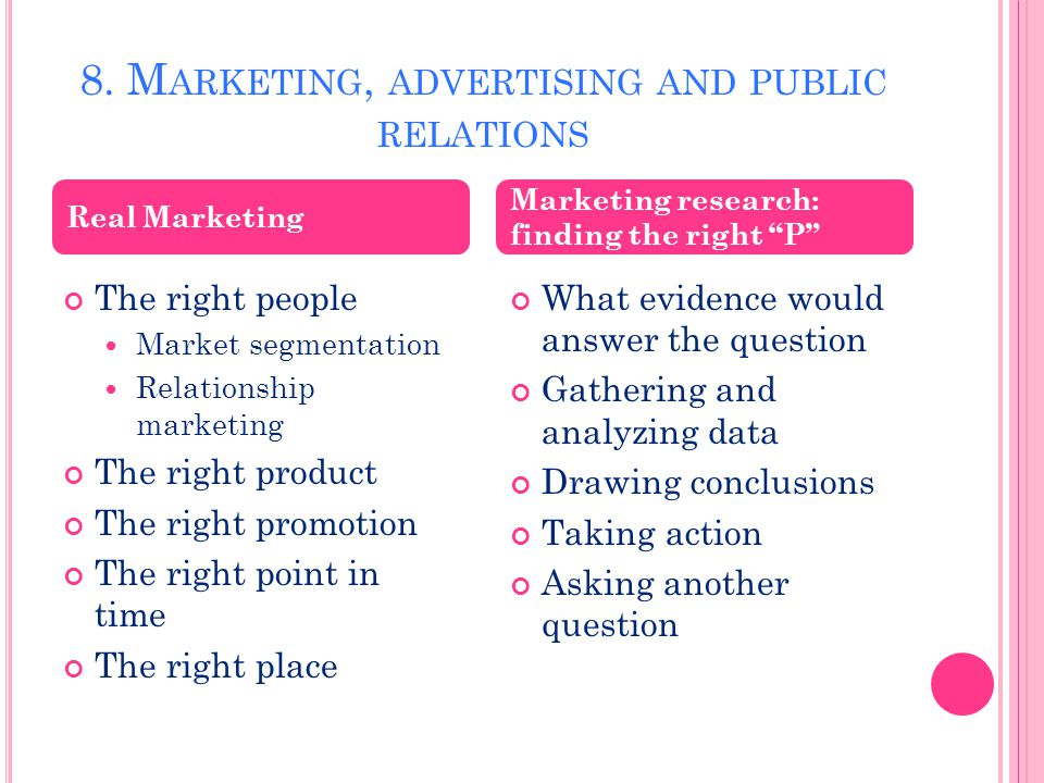8. M ARKETING, ADVERTISING AND PUBLIC RELATIONS The right people Market segmentation Relationship marketing The right product The right promotion The