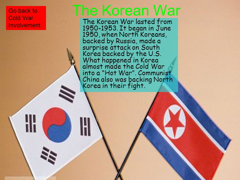 The U.S. became involved as a representative of the U.N., and started fighting in the summer of 1950. They got involved to contain North Koreas fast m