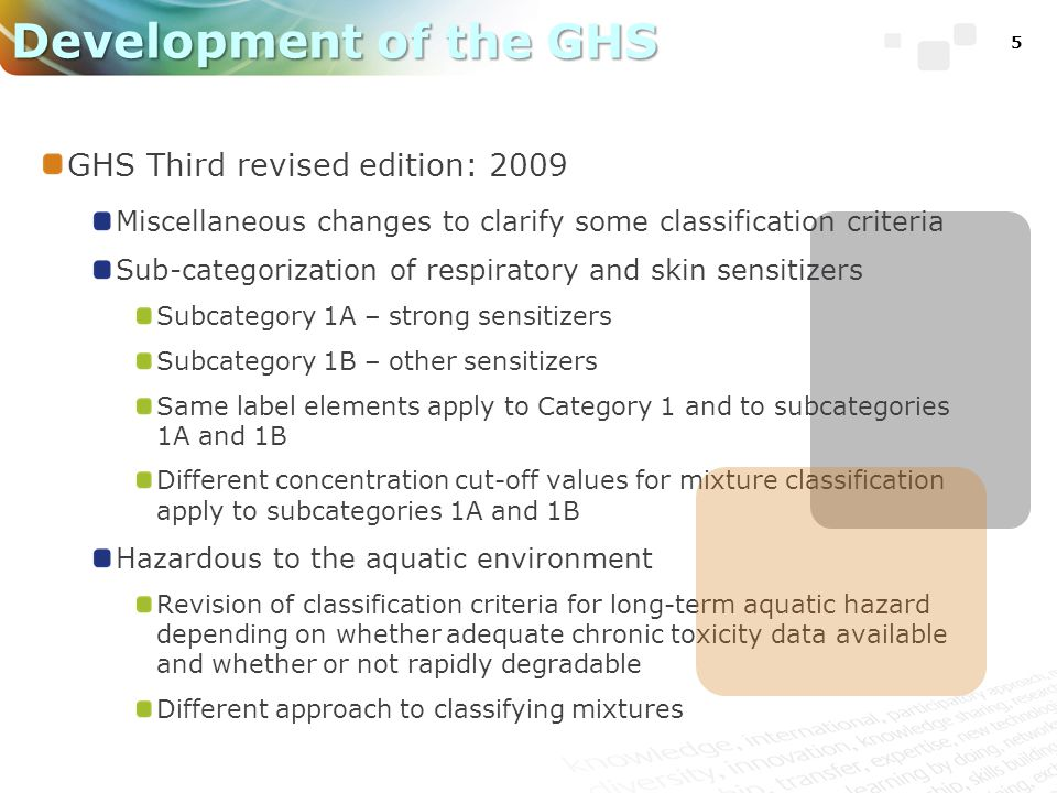 16 Implementation Status (update) European Union Implemented 20 January 2009 (Classification, Labelling and Packaging Regulation – CLP) Regulation (EC) No 1272/ 2008 Based on 2 nd revised edition of GHS, some GHS categories not adopted Chemicals must comply with c&l by 1 Dec 2010, Mixtures (products) must comply by 1 June 2015 Amended to bring into line with 3 rd revised edition of GHS in April 2011 Procedures underway to align with 4 th revised edition in 2013 CLP regulation (Annex VI) includes list of GHS classified chemicals – available online