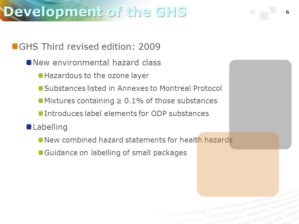 6 Development of the GHS GHS Third revised edition: 2009 New environmental hazard class Hazardous to the ozone layer Substances listed in Annexes to Montreal Protocol Mixtures containing 0.1% of those substances Introduces label elements for ODP substances Labelling New combined hazard statements for health hazards Guidance on labelling of small packages