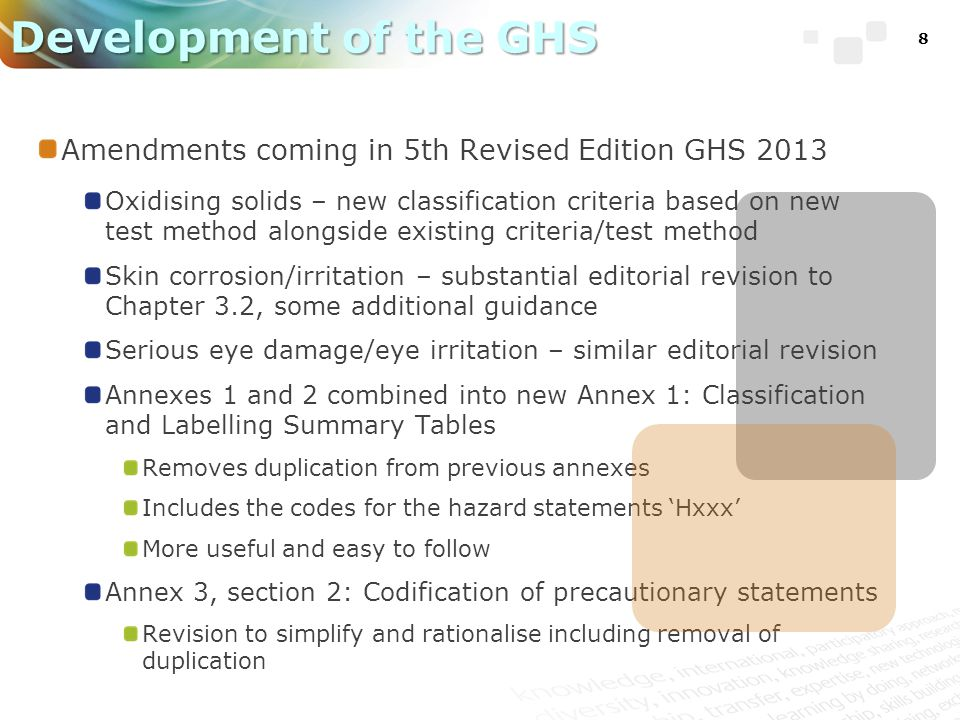 8 Development of the GHS Amendments coming in 5th Revised Edition GHS 2013 Oxidising solids – new classification criteria based on new test method alo