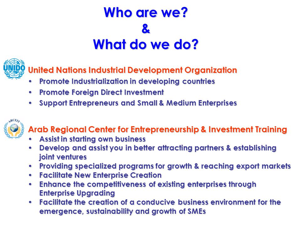 Who are we? & What do we do? United Nations Industrial Development Organization Promote Industrialization in developing countries Promote Industrializ
