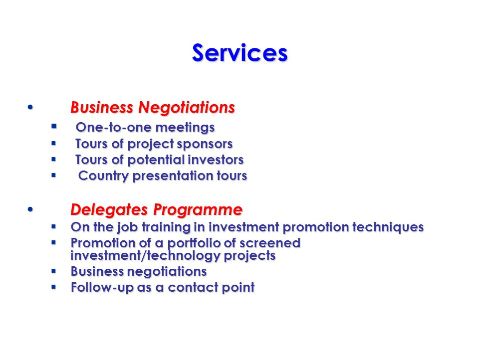 Services Business Negotiations Business Negotiations One-to-one meetings One-to-one meetings Tours of project sponsors Tours of project sponsors Tours