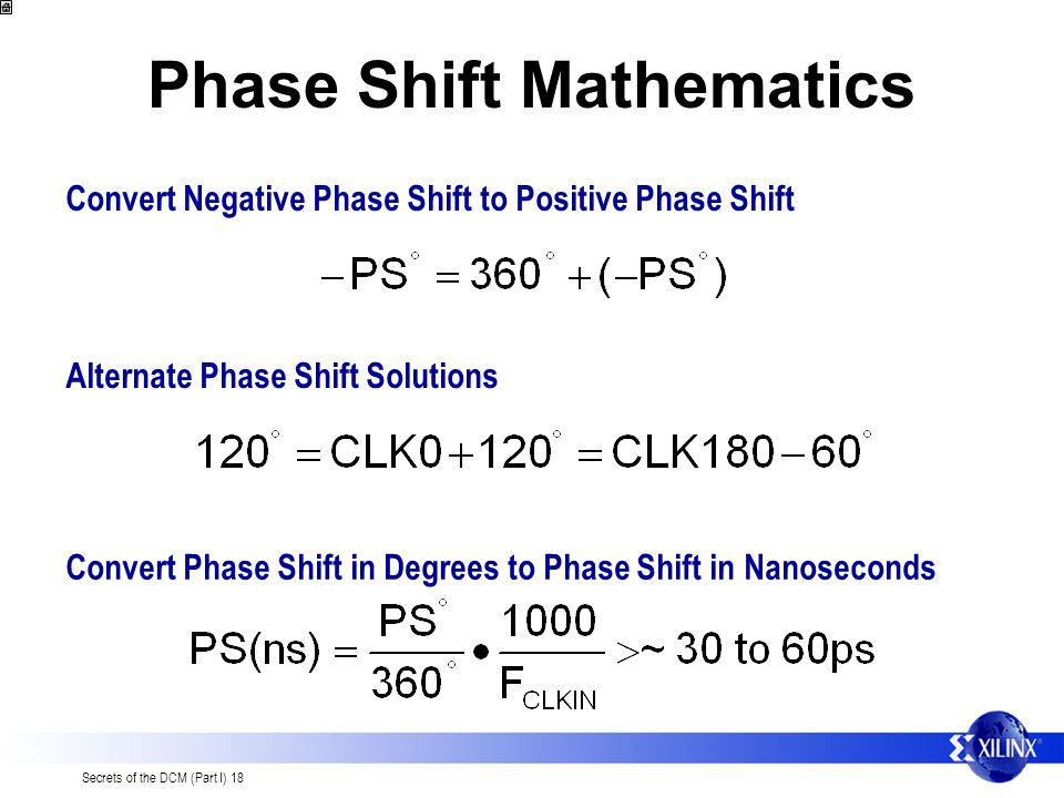 Secrets of the DCM (Part I) 18 Phase Shift Mathematics Convert Negative Phase Shift to Positive Phase Shift Convert Phase Shift in Degrees to Phase Sh