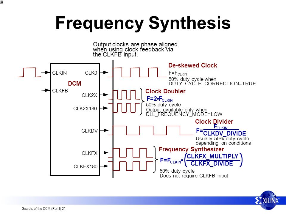 Secrets of the DCM (Part I) 21 Output clocks are phase aligned when using clock feedback via the CLKFB input. Frequency Synthesis CLKINCLK0 CLKFB DCM