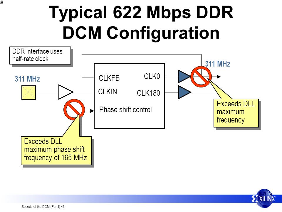 Secrets of the DCM (Part I) 43 Typical 622 Mbps DDR DCM Configuration CLK0 CLK180 CLKFB CLKIN Phase shift control 311 MHz Exceeds DLL maximum frequenc