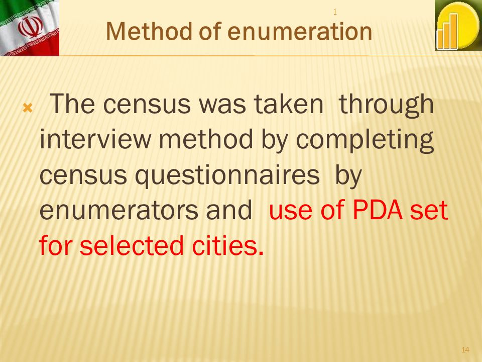The census was taken through interview method by completing census questionnaires by enumerators and use of PDA set for selected cities.
