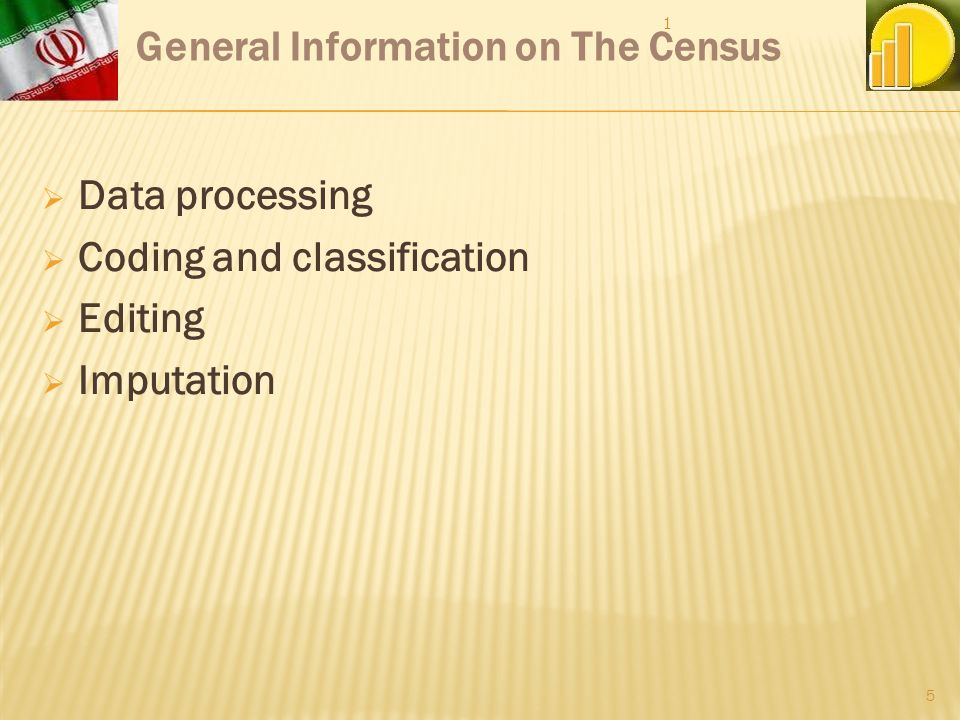 Data processing Coding and classification Editing Imputation General Information on The Census 1 5