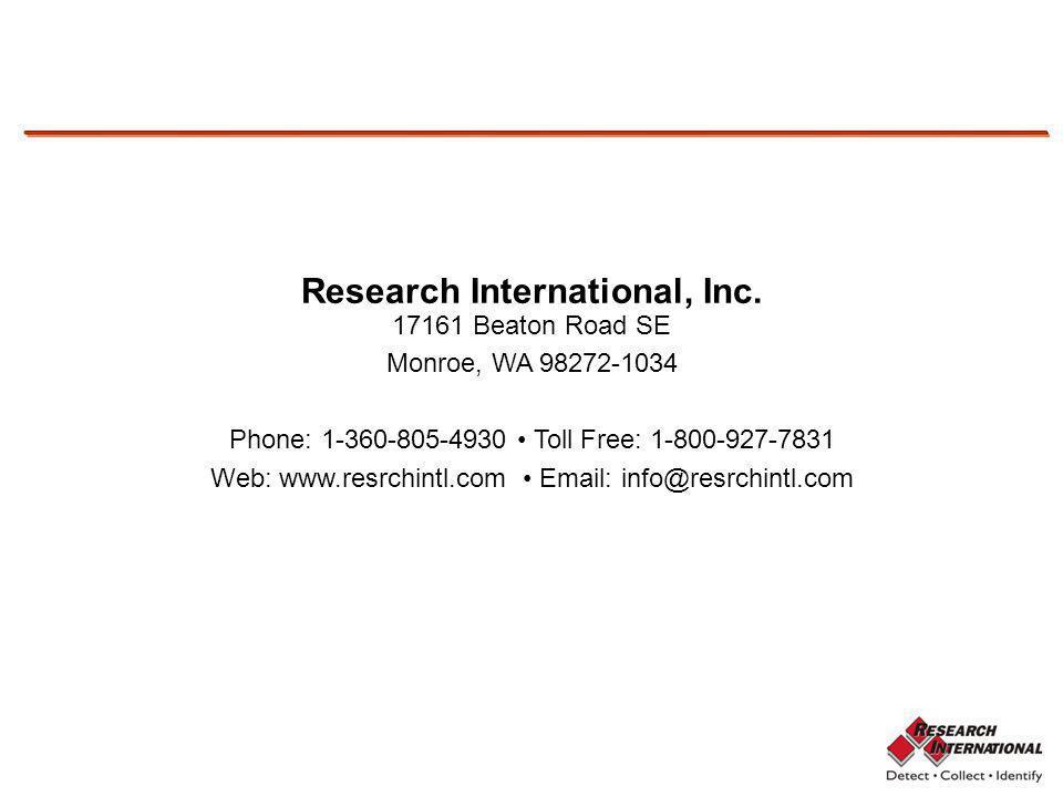 Using the SASS 3100 Research International, Inc. 17161 Beaton Road SE Monroe, WA 98272-1034 Phone: 1-360-805-4930 Toll Free: 1-800-927-7831 Web: www.r