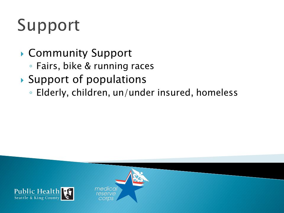 Community Support Fairs, bike & running races Support of populations Elderly, children, un/under insured, homeless