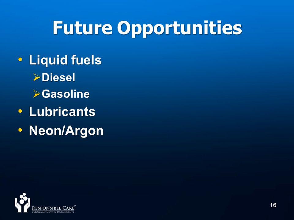 Future Opportunities Liquid fuels Liquid fuels Diesel Diesel Gasoline Gasoline Lubricants Lubricants Neon/Argon Neon/Argon 16