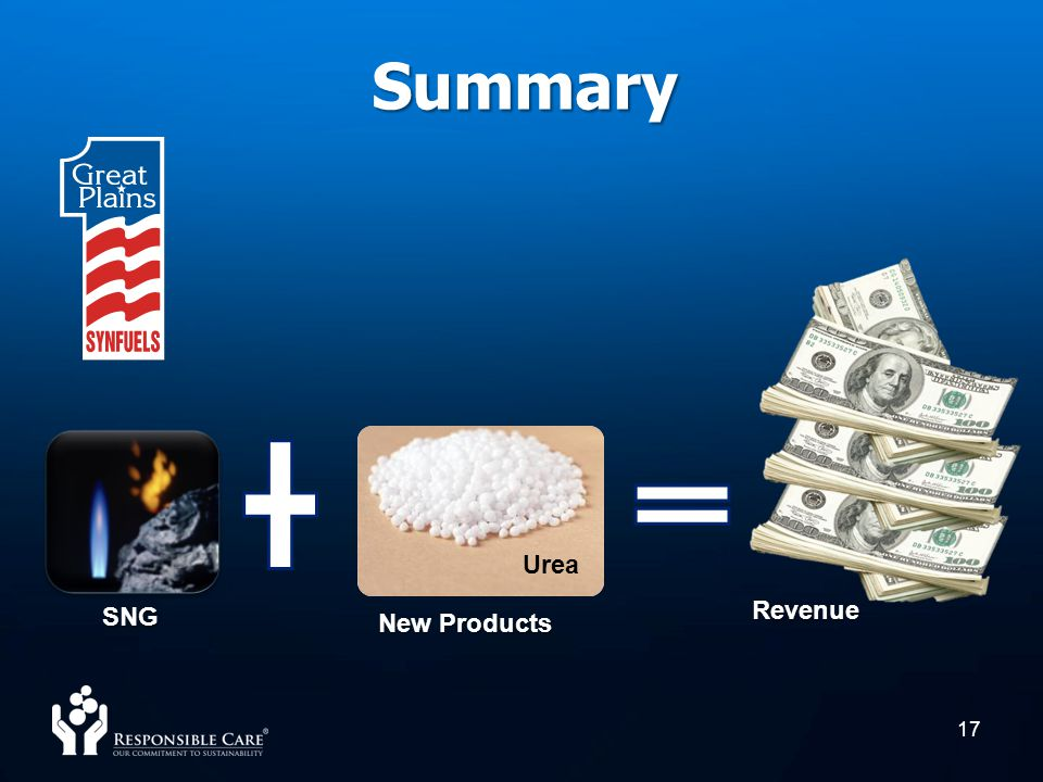 17 Summary New Products Urea SNG Revenue