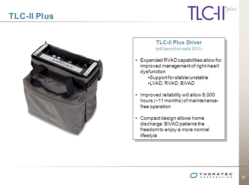 27 TLC-II Plus TLC-II Plus Driver (will launch in early 2011) Expanded RVAD capabilities allow for improved management of right-heart dysfunction Supp