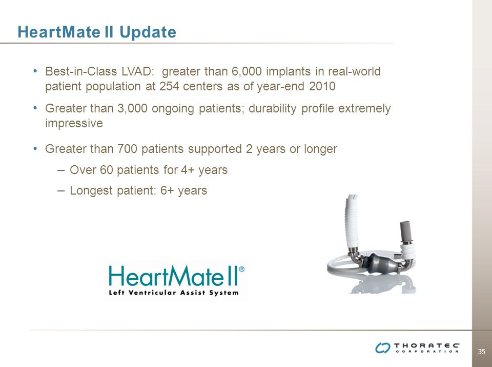 35 HeartMate II Update Best-in-Class LVAD: greater than 6,000 implants in real-world patient population at 254 centers as of year-end 2010 Greater tha
