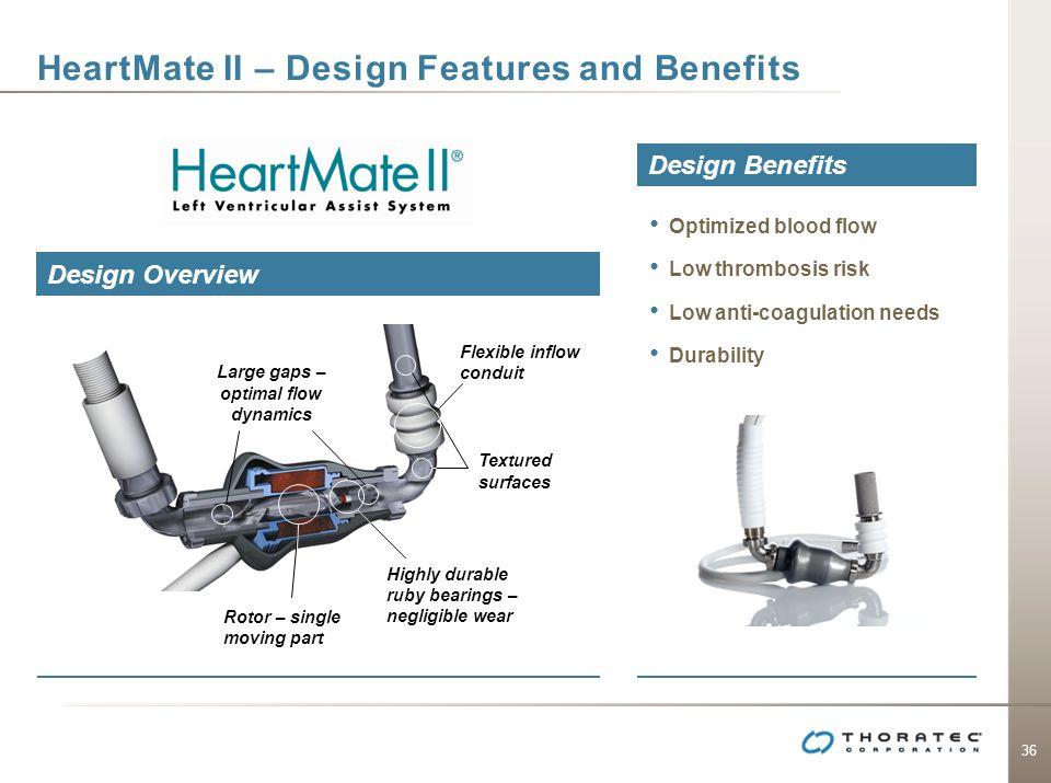 36 HeartMate II – Design Features and Benefits Design Overview Design Benefits Optimized blood flow Low thrombosis risk Low anti-coagulation needs Dur