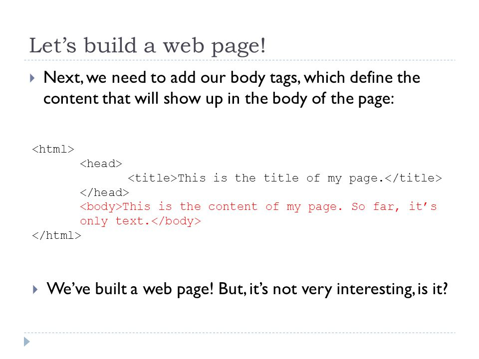 Lets build a web page.