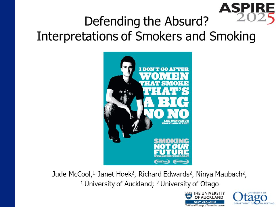 Findings: Social Disapproval Smoking an act of flagrant disrespect for health A deficiency in common decency Expressed open disapproval if it does smell really bad you do the whole kind of wee bit of a cough as you walk past, just to y know, make sure that they know that you dont really approve of it.