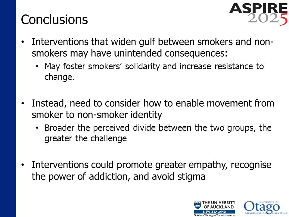 Conclusions Interventions that widen gulf between smokers and non- smokers may have unintended consequences: May foster smokers solidarity and increase resistance to change.