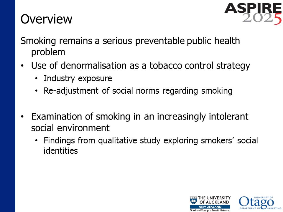Overview Smoking remains a serious preventable public health problem Use of denormalisation as a tobacco control strategy Industry exposure Re-adjustment of social norms regarding smoking Examination of smoking in an increasingly intolerant social environment Findings from qualitative study exploring smokers social identities